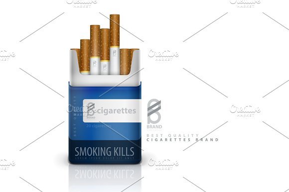 vector premium cigarettes pack ad template graphic objects