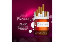 Vector premium cigarettes pack ad template