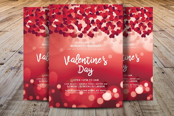 Valentine's Day Party Flyer Templat…