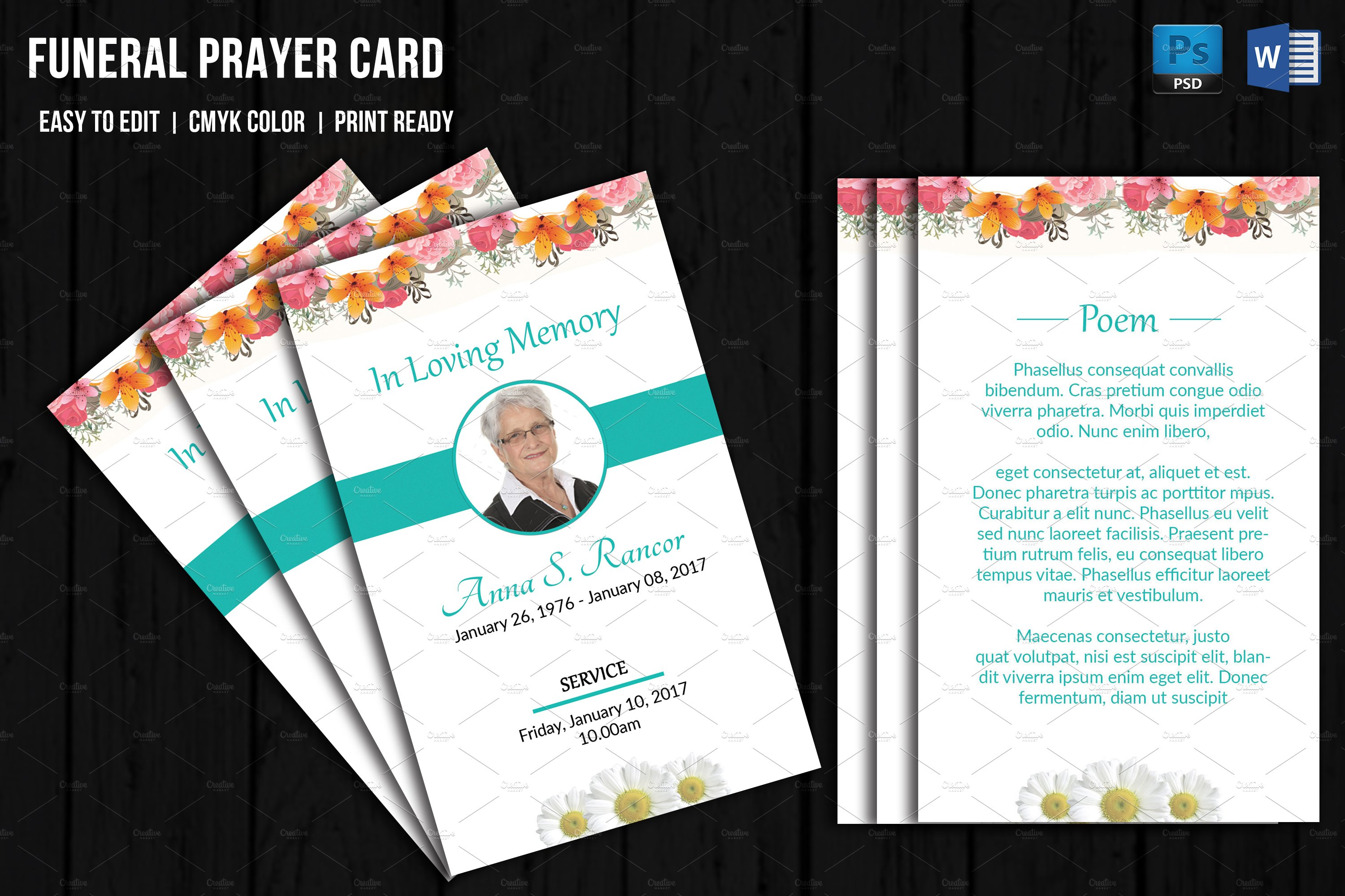 funeral prayer card template v656 card templates creative market. Black Bedroom Furniture Sets. Home Design Ideas