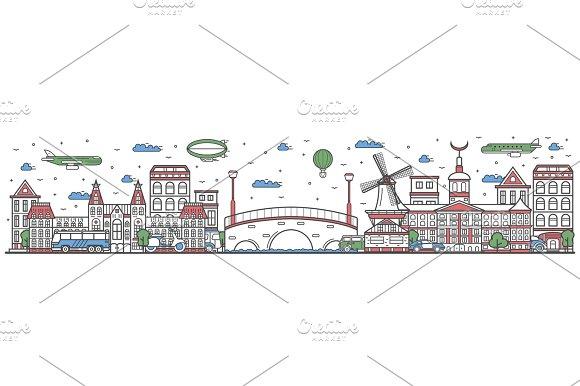 Travel in Amsterdam city line flat design banner