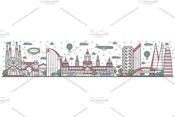 Travel in Barcelona city line flat design banner