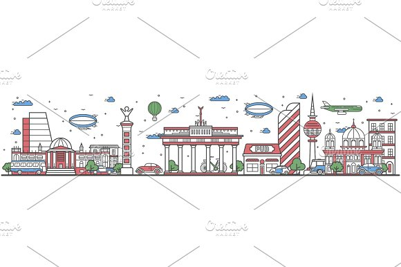 Travel in Berlin city line flat design banner