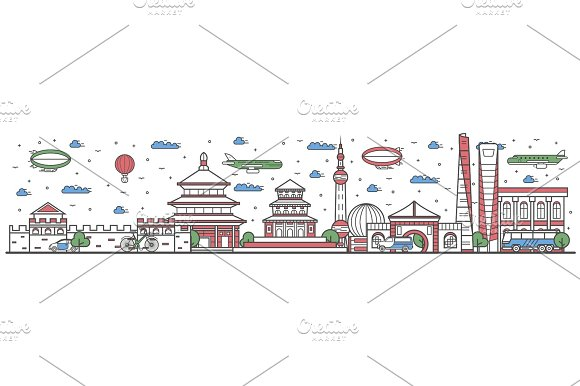 Travel in China country line flat design banner
