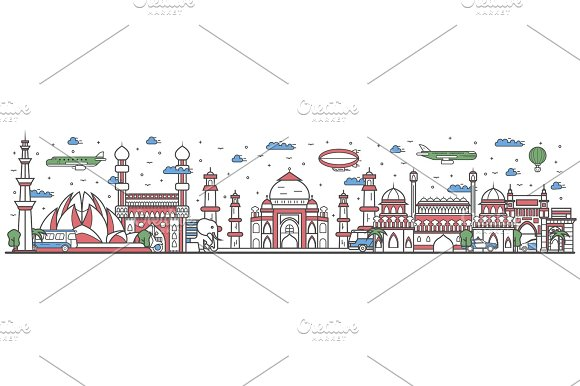 Travel In India Country Line Flat Design Banner