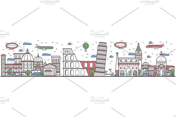 Travel in Italy country line flat design banner