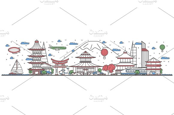 Travel in Japan country line flat design banner