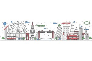 Travel in London city line flat design banner