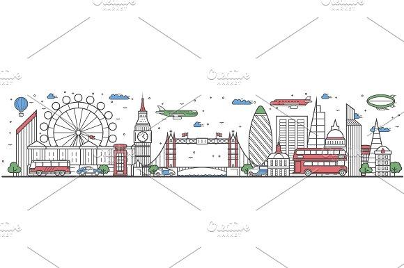 Travel in London city line flat design banner in Illustrations