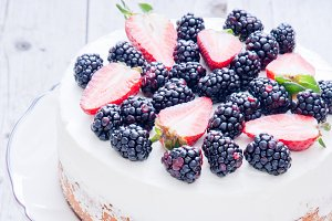 Delicious cake with berry