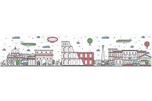 Travel in Rome city line flat design banner
