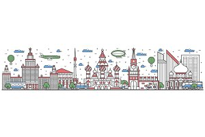 Travel in Russia country line flat design banner