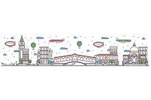 Travel in Venice city line flat design banner