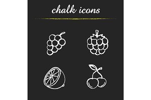 Fruit and berries. 4 icons. Vector