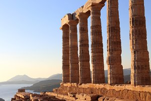 the ancient temple of Poseidon . Cape Sounion, Attica, Athens, G