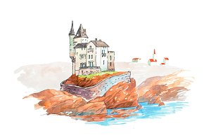 Medieval castle famous landmarks travel and tourism waercolor illustration