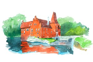 Castle Cervena Lhota famous landmarks travel and tourism waercolor illustration