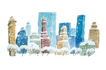 Watercolor drawing winter cityscape city in snow aquarelle painting