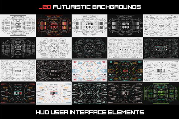 Set Of Futuristic HUD UI Backgrounds