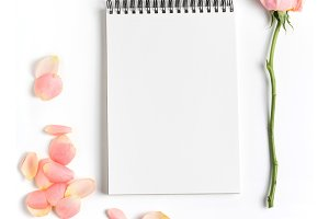 Styled stock photo with notebook