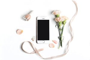 Styled stock photo with phone&flower