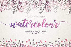 Watercolour floral borders& patterns