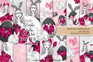 GLAM EASTER digital papers