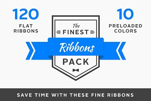 120 Flat Ribbons for Web Designers