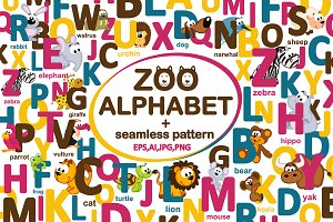 Set english alphabet with animals