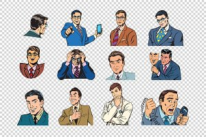 Retro businessmen pop art collection