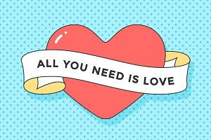 Old ribbon with message All you need is Love
