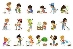 Kids Gardening Illustrations Set