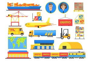 Logistic Elements Colorful Infographic