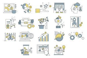 Abstract vector collection flat business and finance icons.