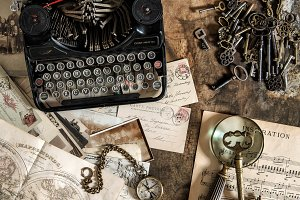 Vintage typewriter old keys
