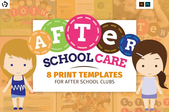 After School Kids Care Template Pack Brochure Templates - School brochures templates