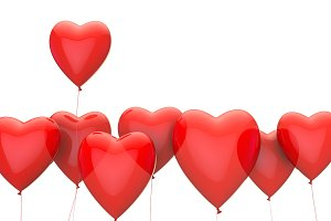 Red heart valentine's love balloon