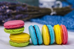 Sweet and colourful french macaroons
