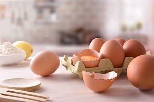 Fresh eggs on cartons top