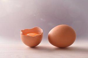 Fresh eggs on wooden bench gray