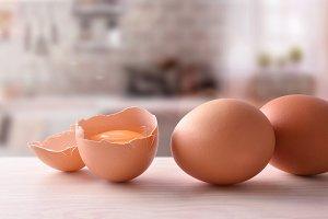 Fresh eggs on wooden bench ckitchen