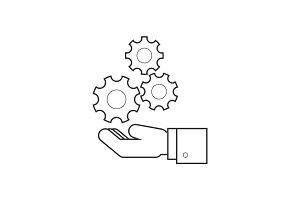 Hand holding wheels line icon