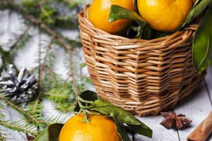 New Year composition with tangerines