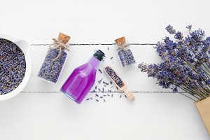 Essential oil, mortar and lavender