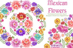 Mexican Flowers watercolor clip art