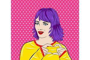 Pop art surprised woman face with mouth. Comic book. Vector illustration. Showing heart sing
