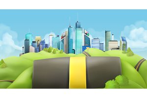 City and road, vector landscape