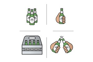 Beer. 4 icons. Vector