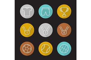 Sport games. 9 icons. Vector