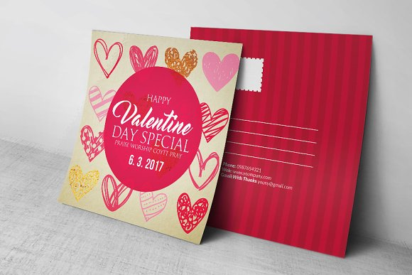 Valentines Day Post Cards Card Templates on Creative Market – Valentines Day Post Cards